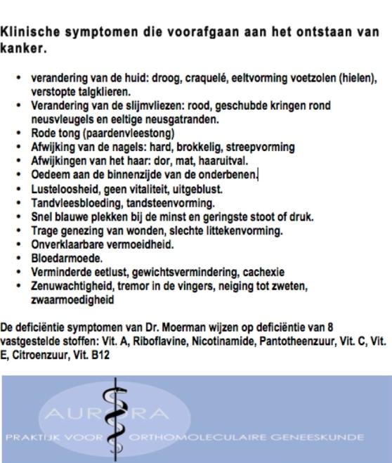 Klinische symptomen die voorafgaan aan het ontstaan van kanker