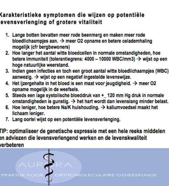 Karakteristieke symptomen die wijzen op potentiële levensverlenging of grotere vitaliteit